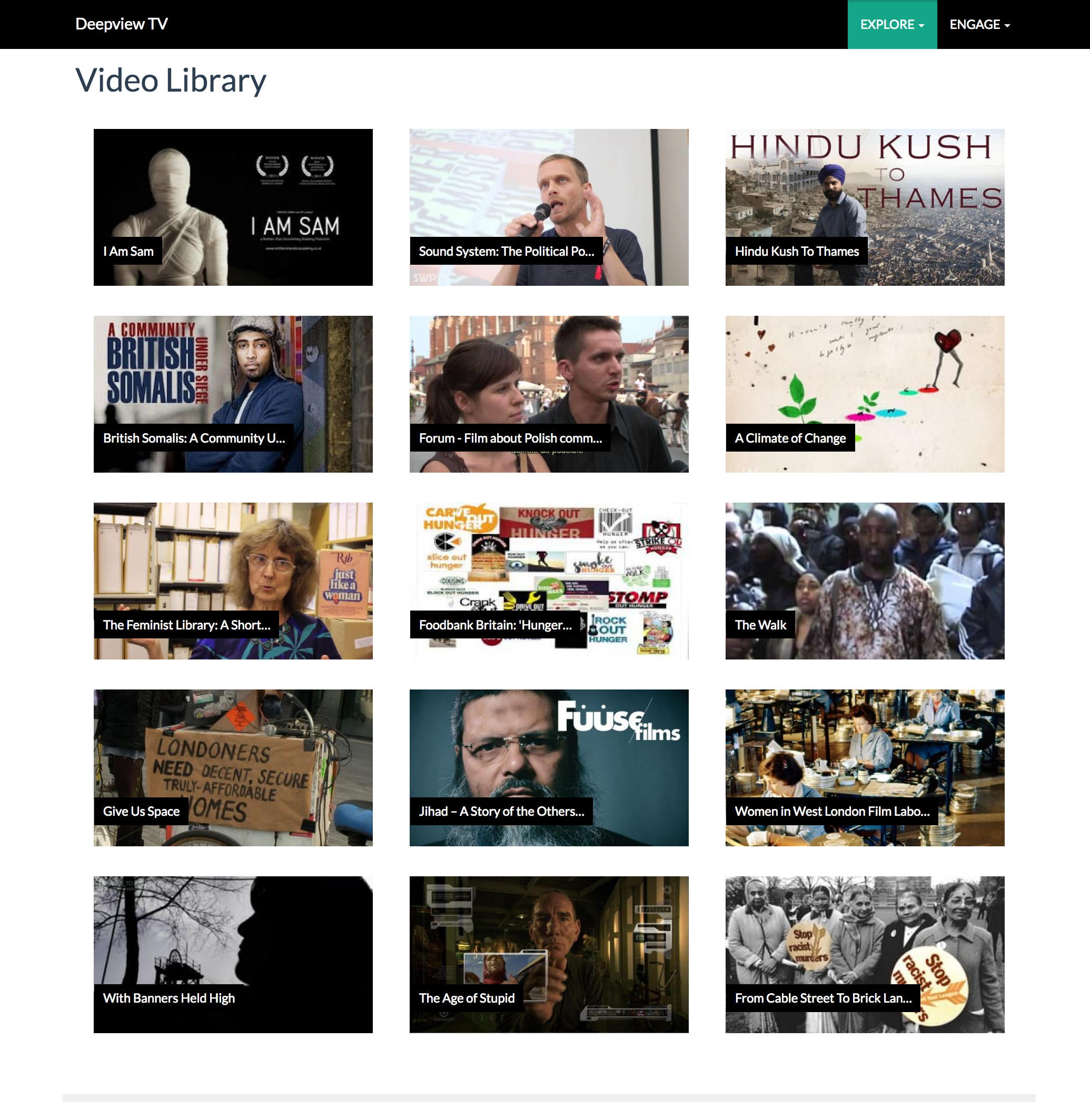 Sample screenshot of 'pre-alpha' test video library.